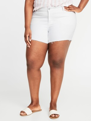 Old Navy High-Waisted Secret-Slim Pockets Plus-Size White Jean Cut-Off Shorts - 5-Inch inseam