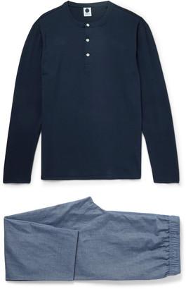 NN07 Sleepwell Stretch-Cotton and Chambray Pyjama Set $155 thestylecure.com