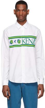 Kenzo White Knit Logo Casual Fit Shirt