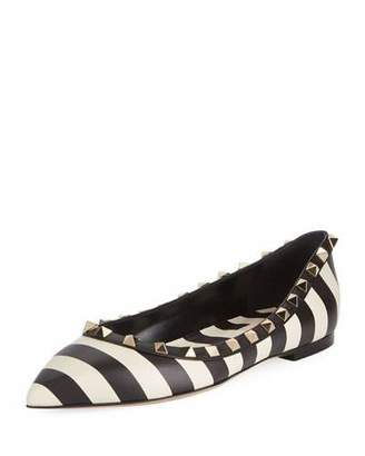 Valentino V.Stripes Rockstud Point-Toe Leather Ballet Flats