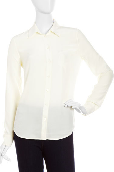 Equipment Silk Patch-Pocket Blouse, Nature White