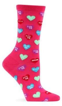 Hot Sox Candy Hearts Crew Socks