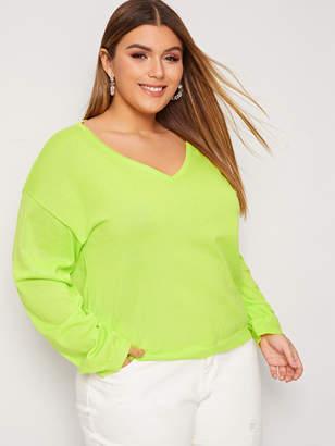 Shein Plus Neon Green V-Neck Sweater