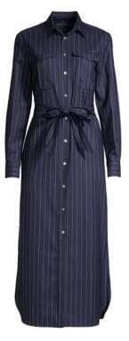 Polo Ralph Lauren Women's Pinstripe Long-Sleeve Shirtdress - Navy Multi - Size 10