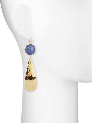 Devon Leigh Lapis & Hammered Teardrop Earrings