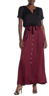 On The Road Lita Satin Button Front Maxi Skirt