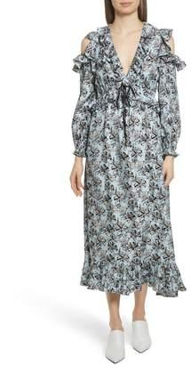 Robert Rodriguez Ruffle Trim Cold Shoulder Silk Dress