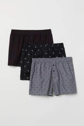 H&M 3-pack Woven Boxer Shorts - Black