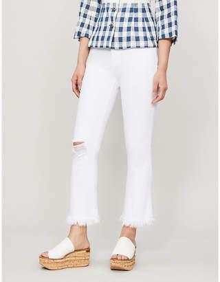Frame Frayed-hem straight mid-rise jeans