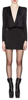 Saint Laurent Women's Satin Draped Minidress