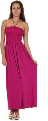 Sakkas 5026 Jersey Solid Color String Halter Maxi Dress - /