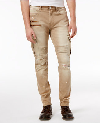 Guess Men's Slim-Fit Tapered Pin-tuck Moto Jeans $148 thestylecure.com