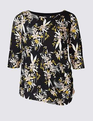 Marks and Spencer CURVE Floral Print 3⁄4 Sleeve T-Shirt
