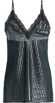 House of Holland Lace-Trimmed Metallic Jacquard Camisole