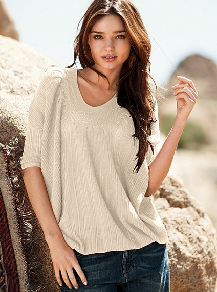 Cotton featherweight dolman-sleeve v-neck sweater