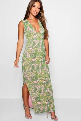 boohoo Petite Plunge Front Palm Print Jersey Maxi Dress
