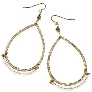 Women's Canvas Jewelry Beaded Teardrop Earrings $20 thestylecure.com