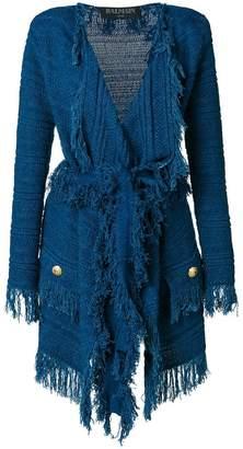 Balmain fringed cardi-coat
