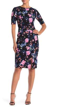 London Times 3\u002F4 Sleeve Dress Geo Printed Dress