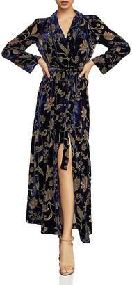 BCBGMAXAZRIA Velvet Floral Burnout Wrap Dress