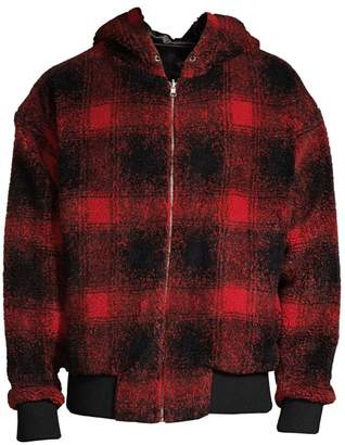 The Kooples Oversized Plaid Hooded Jacket