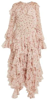 Preen by Thornton Bregazzi Genevieve Asymmetric Ruffle Silk Chiffon Dress - Womens - Pink Multi