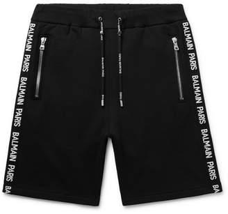 4da0c4b379 Balmain Slim-Fit Logo-Jacquard Loopback Cotton-Jersey Shorts