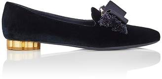 Salvatore Ferragamo Women's Flower-Heel Velvet Loafers