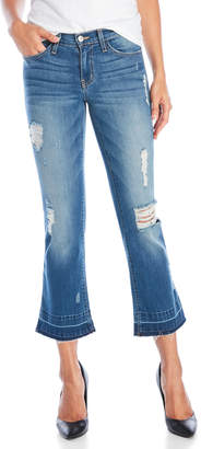 Flying Monkey Distressed Cropped Med Wash Flare Jeans
