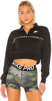 Nike Half Zip Crop Brush Back Pullover