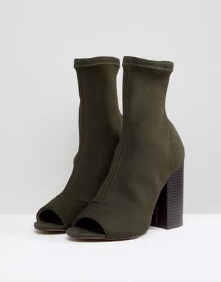 Asos Design DESIGN Even Knit Peep Toe Heeled Boots