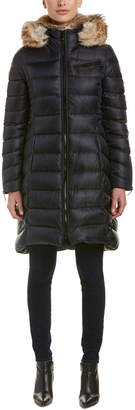 Dawn Levy Bee Long Puffer With Fur Collar