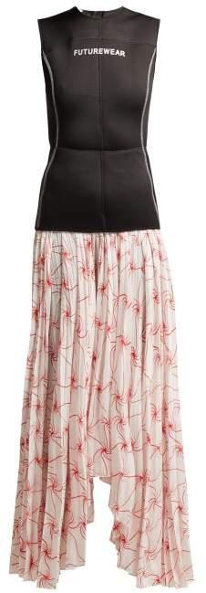 Marine Serre - Spin Flower Printed Skirt Wetsuit Dress - Womens - Black Multi