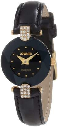 Jowissa Women's J5.007.S Facet Strass Gold PVD Dimensional Glass Leather Rhinestone Watch