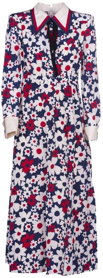 Gucci Sylvie Web Trim Floral Dress