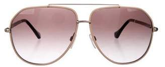 0d04210c1 Balenciaga Leather-Trimmed Aviator Sunglasses
