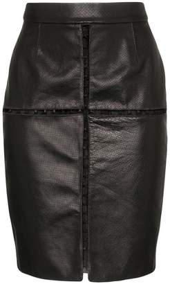 Situationist black cut out leather mini skirt