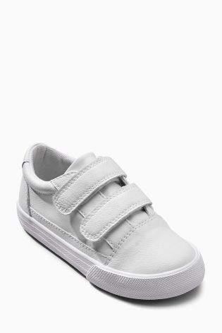 Boys White Strap Shoes (Younger Boys) - White