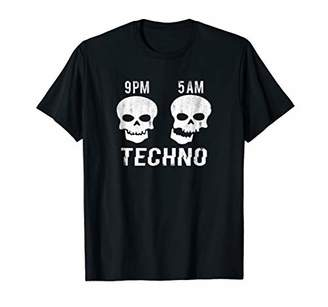 TECHNO T-Shirt Skull Head PM AM EDM Music Dub-Step Raver DJ