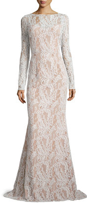 Carmen Marc Valvo Long-Sleeve Bateau-Neck Lace Gown, Ivory/Nude $1,190 thestylecure.com