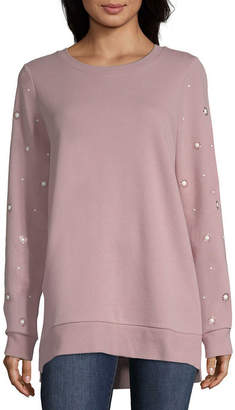 ST. JOHN'S BAY Long Sleeve Round Neck Step Hem Sweatshirt - Tall
