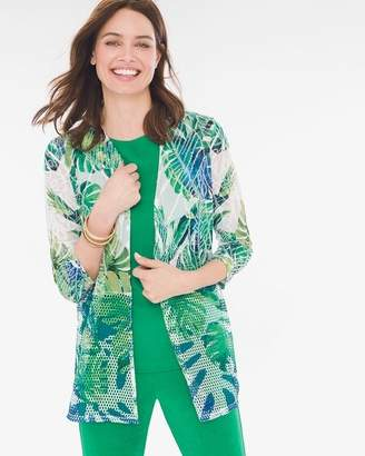 Travelers Collection Mixed-Fabric Cardigan