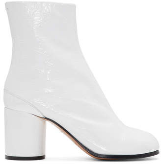Maison Margiela White Patent Leather Tabi Boots