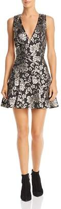 Alice + Olivia Marleen Metallic Floral Fit-and-Flare Dress