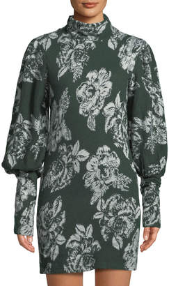 Free People Balloon-Sleeve Floral-Jacquard Sweater Dress, Green