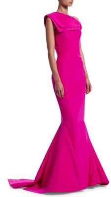 Zac Posen Foldover One-Shoulder Silk Mermaid Gown