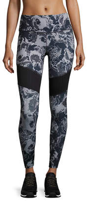 The North Face Motivation Mesh Performance Leggings, Black Roses Print