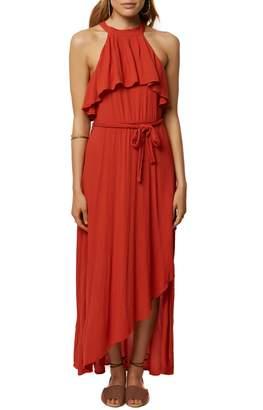 O'Neill Misty Ruffle Asymmetrical Maxi Dress