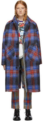 Charles Jeffrey Loverboy Red and Blue Tartan Doctors Mac Chain Coat