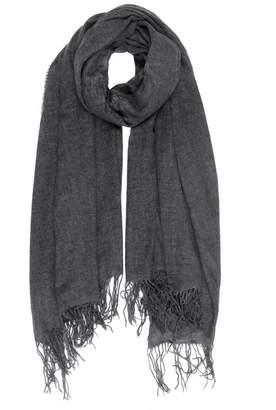 c923c759a9f Willow Cashmere - Cashmere Soft Weave Fringe Scarf Charcoal Grey Melange